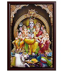 Shiva Family on Laminated Board - Wall Hanging