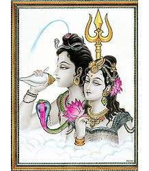 Shiva and Parvati - Laminated Poster