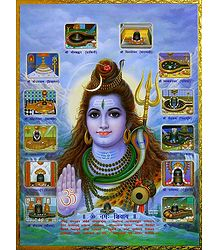 Lord Shiva with 12 Jyotirlingas