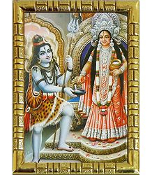Plastic Framed Annapurna and Lord Shiva Picture