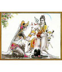 Parvati Worships Shiva - Laminated Poster
