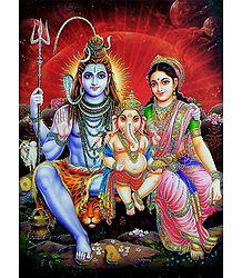 Shiva, Parvati and Ganesha - Glitter Poster