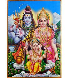 Buy Shiva, Parvati with Ganesha Poster