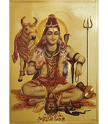 Lord Shiva - Golden Metallic Poster