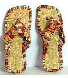 Colorful Ladies Sandal With Mirrorwork