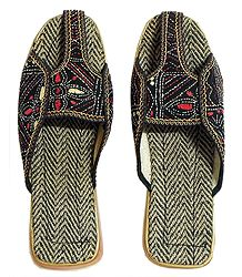 Buy Kantha Stitch Jutti on Silk Cloth and Rubber Sole