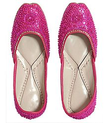 Magenta Leather Mojari with Sequin and Beadwork