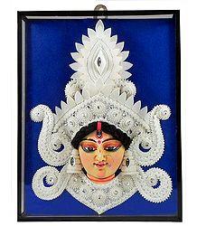 Shola Decorated Clay Durga Face - Wall Hanging