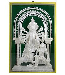Devi Durga - Sholapith Sculpture Encased in Glass