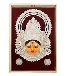 Clay Face of Durga with Decoration Encased in Glass - Wall Hanging