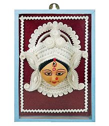Buy Clay Face of Durga with Sholapith Decoration