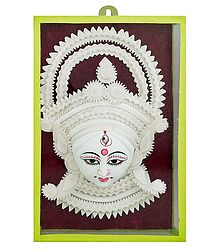Clay Face of Durga with Shola Pith Decoration