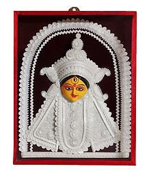 Face of Durga with Shola Pith Decoration - Wall Hanging