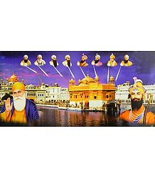 Golden Temple and Ten Sikh Gurus - Poster