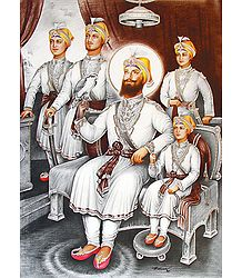 Guru Gobind Singh with His Four Sons - Poster