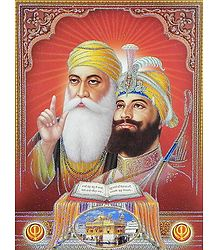 Sikh Gurus with Guru Granth Sahib - Poster with Glitter