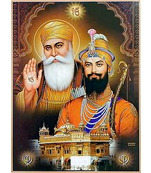 Sikh Gurus with Golden Temple - Poster with Glitter