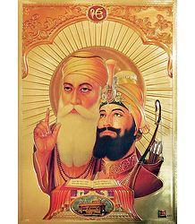 Guru Nanak and Guru Govind Singh - Metallic Poster