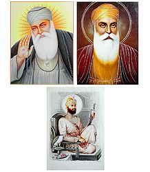 Guru Nanak and Guru Govind Singh Ji - Set of 3 Glitter Posters