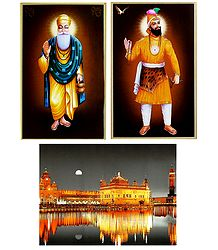 Guru Nanak,Guru Govind Singh and Harmandir Sahib - Set of 3 Posters