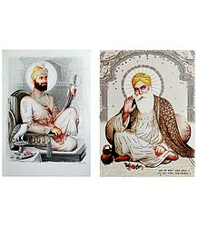 Guru Nanak and Guru Govind Singh Ji - Set of 2 Glitter Posters