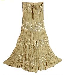 Beige Georgette Crushed Skirt with Sequin Wok