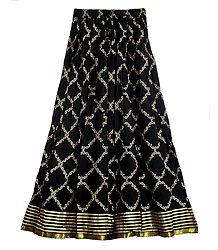 Black Cotton Skirt with Golden Print