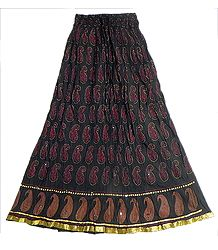 Black Crushed Cotton Skirt with Red and Golden Block Print