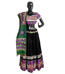 Embroidery on Black Cotton Lehenga Choli