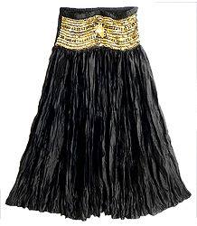 Black Satin Silk Crushed Gypsy Long Skirt With Sequined Waist Band