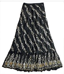 Black Long Skirt with Sequin Work