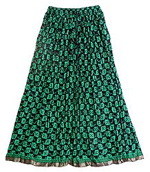 Floral Print on Black Cotton Crushed Long Skirt