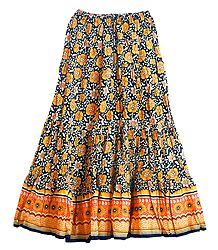 Yellow Floral Print on Black Cotton Crushed Long Skirt