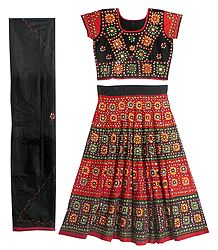 Black and Red Cotton Lehenga Choli with Embroidery