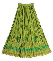 Green Cotton Crushed Long Skirt
