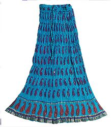 Cyan Blue Crushed Cotton Skirt with Red and Golden Block Print