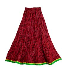 Buy Printed Red Crushed Cotton Skirt