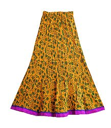 Buy Printed Yellow Crushed Cotton Skirt