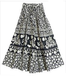 Black and White Long Skirt with Printed King on Elephant