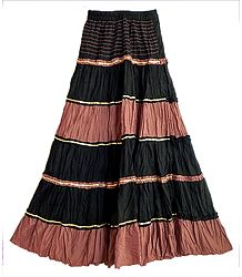 Black with Rust Color Long Skirt