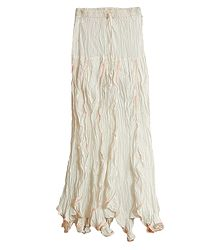 Ivory White Long Skirt with Frill