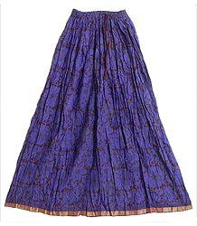 Dark Brown Cotton Long Skirt with Dark Purple Floral Print