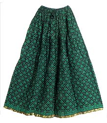 Black Cotton Long Skirt with Dark Green Print