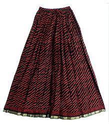 Black Cotton Long Skirt with Dark Red Print