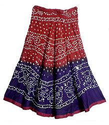 Dark Red with Dark Purple Tie and Dye Skirt with Sequins