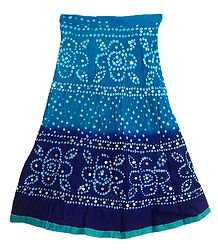 Dark Cyan with Dark Blue Tie and Dye Skirt with Sequins
