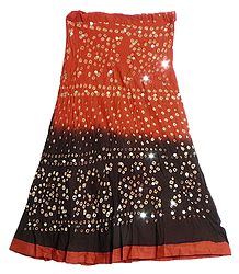 Dark Saffron with Dark Brown Tie and Dye Knee Length Skirt with Sequins