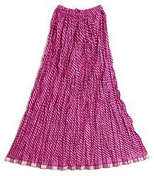 Dark Magenta Cotton Long Skirt  with Red Diagonal Stripe