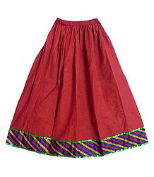 Red Cotton Long Skirt with Multicolor Border