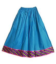 Cyan Blue Cotton Long Skirt with Multicolor Border
